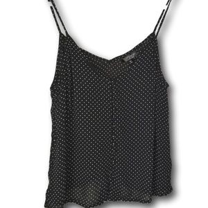 Topshop Black & White Polka Dot Button Cami Top